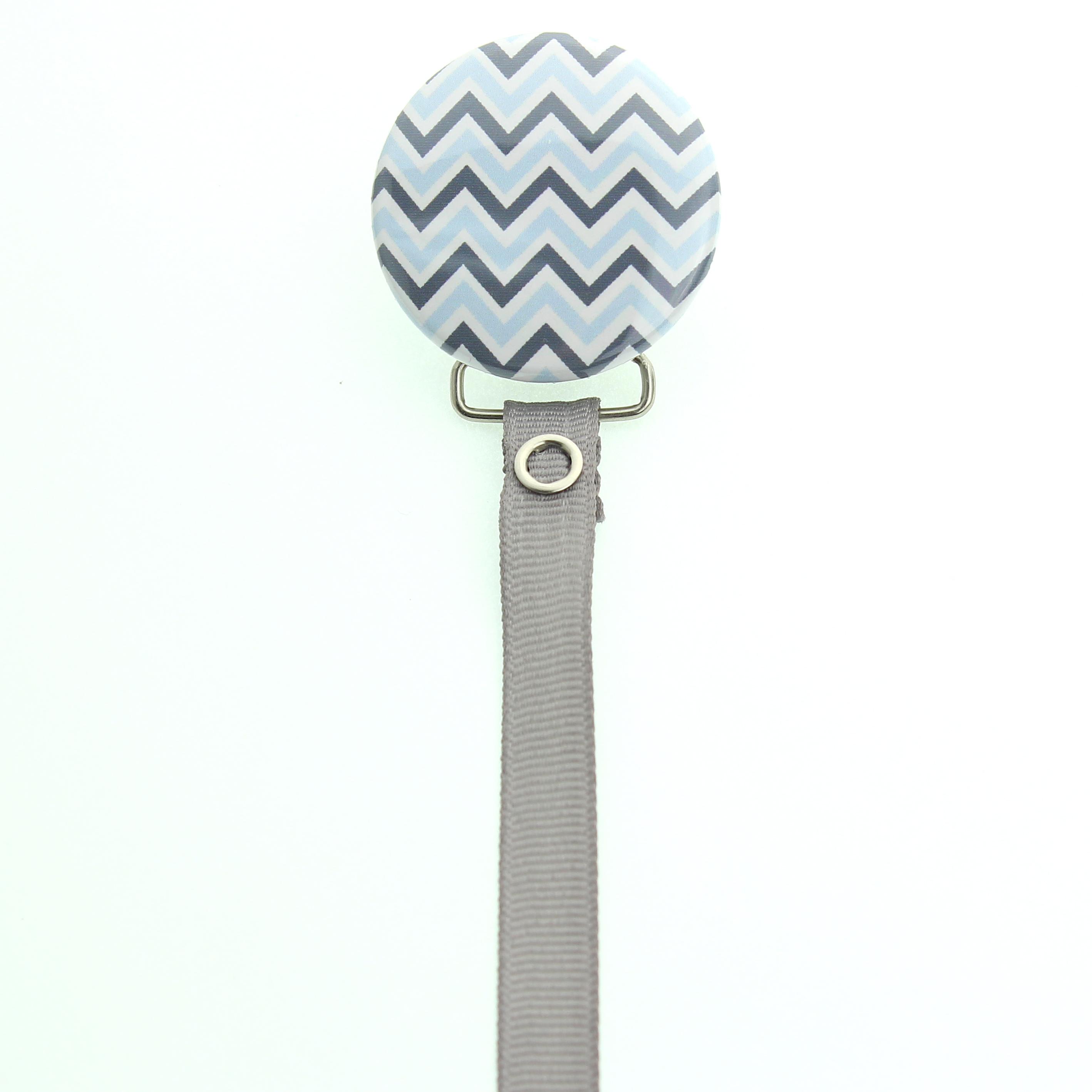 Chevron Design Ribbon Pacifier Clip