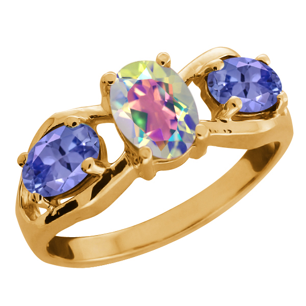 1.85 Ct Oval Mercury Mist Mystic Topaz and Tanzanite Gold Plated Silver Ring