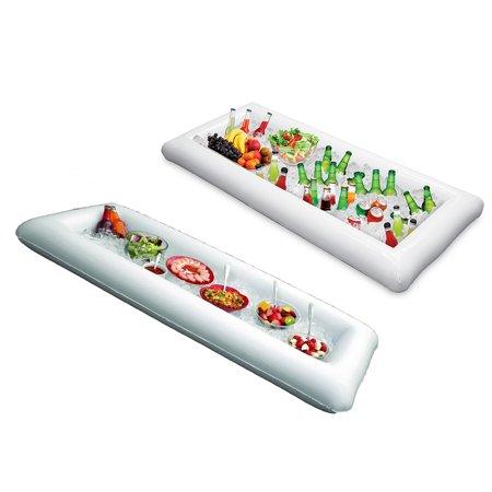 Salad Bar Equipment (2 Pcs Inflatable Serving Tray Food Drink Holder Picnic Buffet Salad Tray Bar Beer Ice Buckets -)