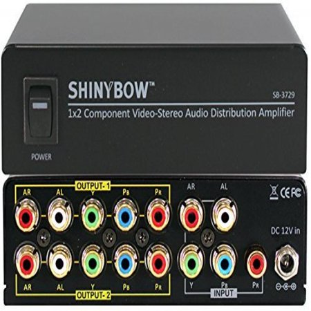 Shinybow 1x2 1:2 Component Video + Stereo R/L Audio Splitter Distribution Amplifier SB-3729 Analog Audio Amplifier Splitter