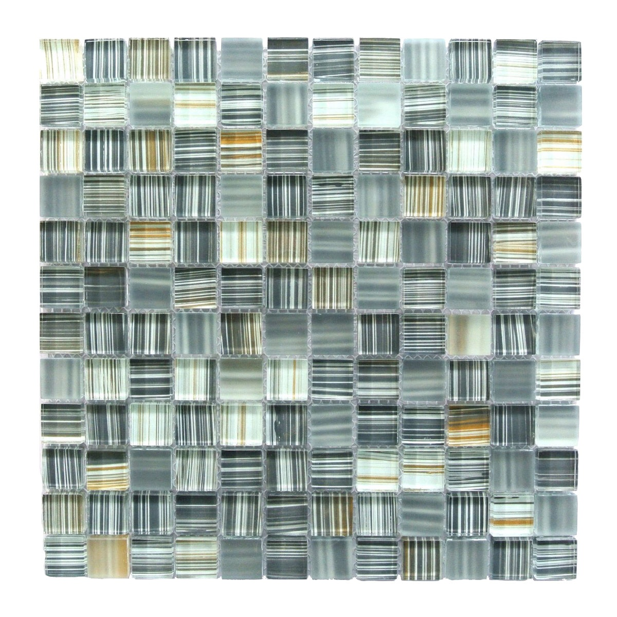 "Abolos- Handicraft 1"" x 1"" Glass Mosaic Tile in Ash Gray (4.9sqft / 5pc Box)"