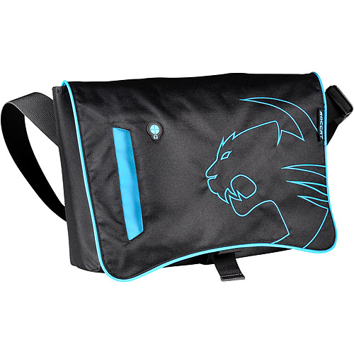 "Roccat Into Street-Proof Messenger Bag for 17.3"" Notebooks - Black w/ Blue Trim"