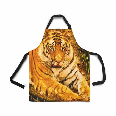 HATIART Wild Tiger Adjustable Bib Apron for Women Men Girls Chef with Pockets Novelty Kitchen Apron for Cooking Baking Gardening Pet Grooming Cleaning - image 1 of 1