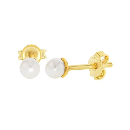 18k Gold Plated Baby White Simulated Pearl Earrings Stud Toddler Kids 4mm