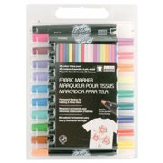 Marvy Acid-Free Non-Toxic Water Based Fabric Marker, Fine Tip, Assorted Colors, Set of 20