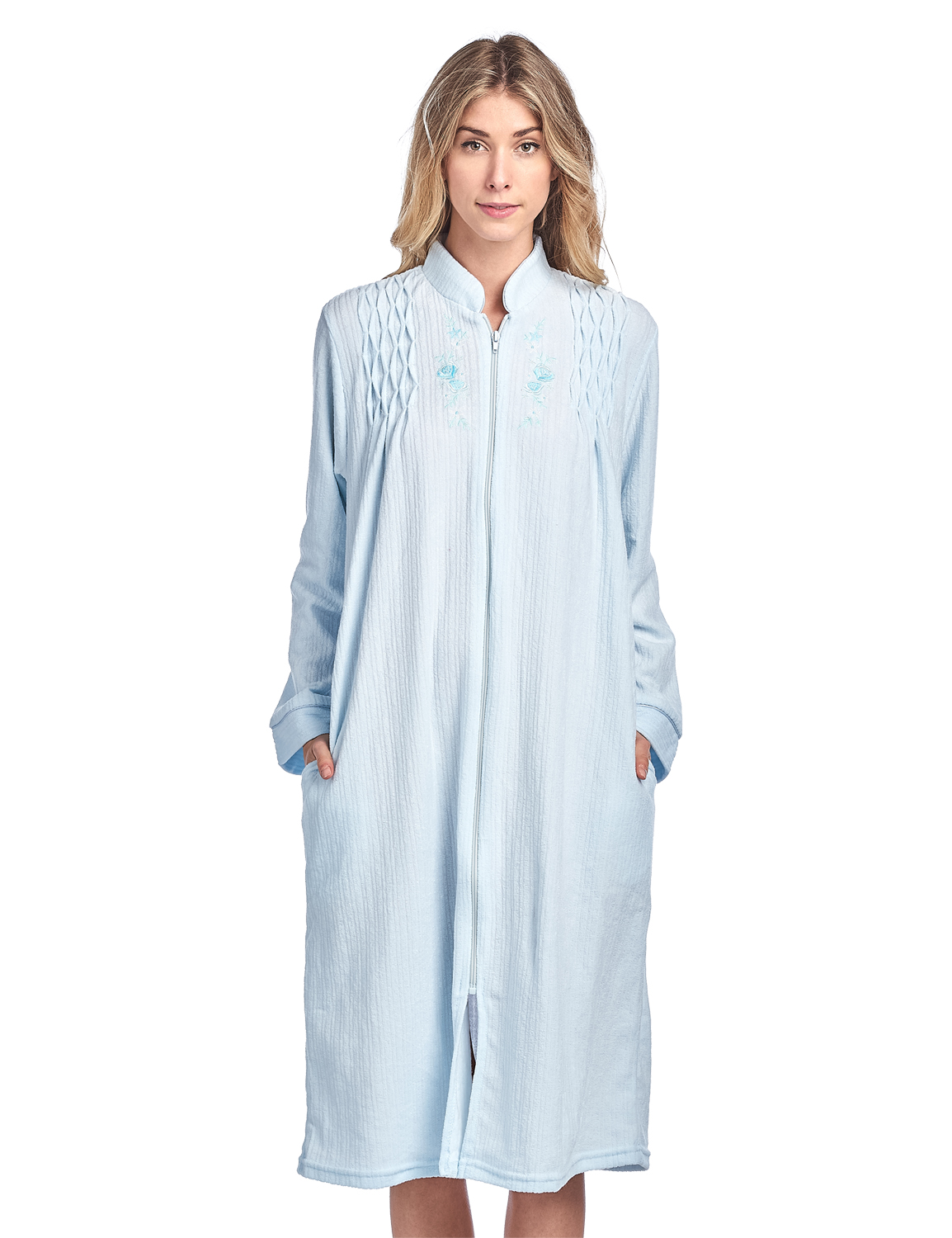 Casual Nights Women's Zipper Front Jacquard Terry Fleece Robe Duster - Blue - X-Large