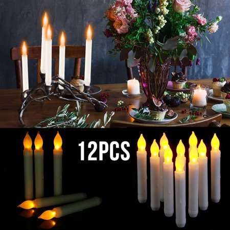 Flameless Taper Candles (TSV 6.5 Inch Flameless LED Taper Candles Lights, Battery Operated Floating Candles, Electric Tapered Candles for Christmas, Party, Wedding Decorations, Set of 12 )