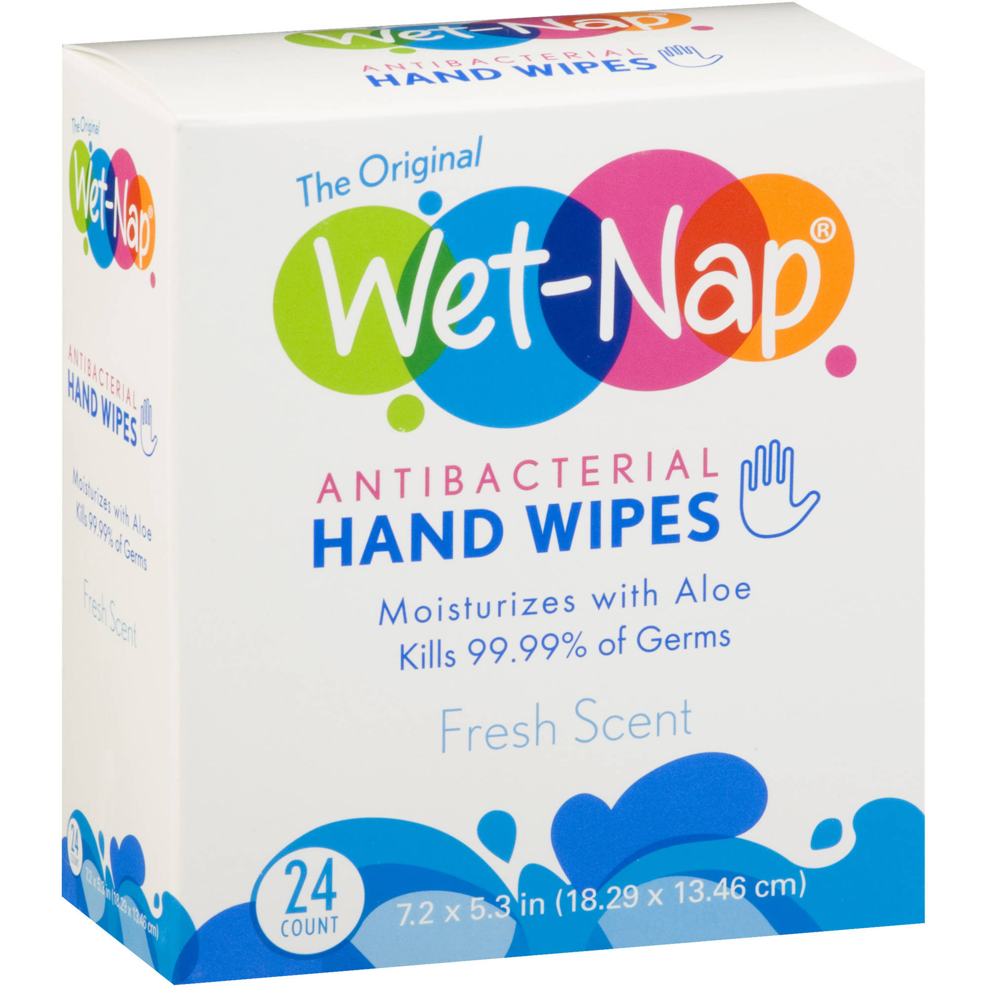 Wet-Nap Antibacterial Hand Wipes, 24 sheets