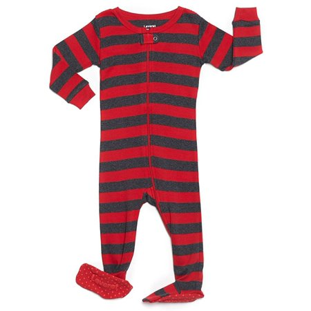 Leveret Striped Footed Pajama Sleeper 100% Cotton (12-18 Months, Red & Grey) ()