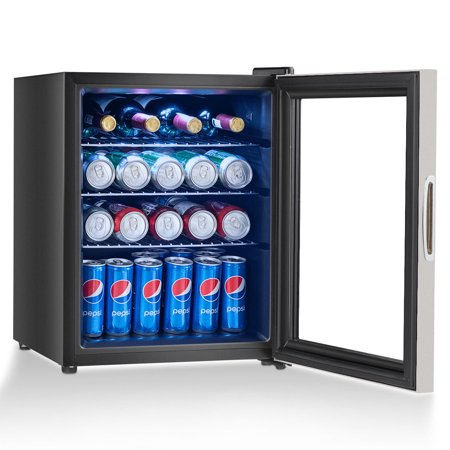 Costway 52 Can Beverage Refrigerator Cooler w Glass Door Stainless Steel Soda Beer Wine ()
