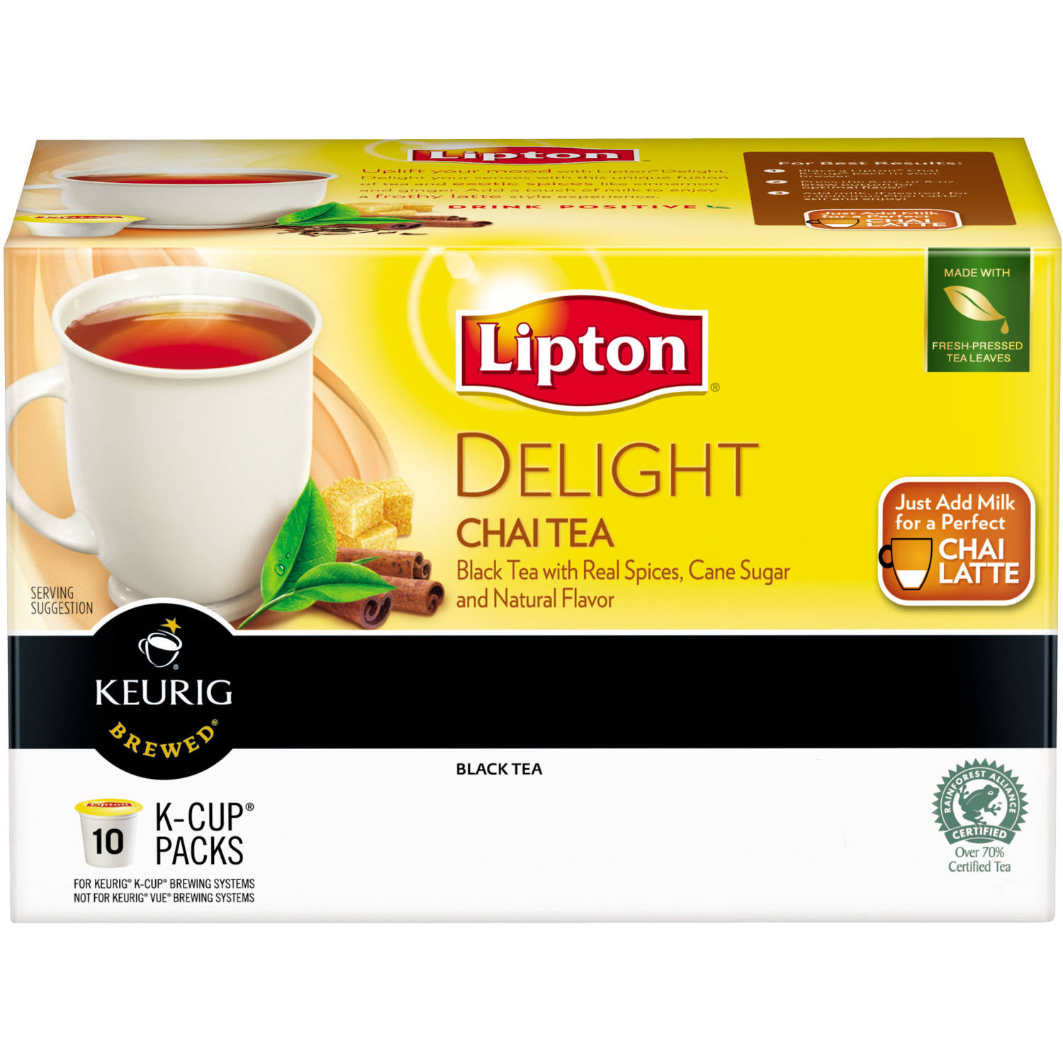 Lipton Chai Black Tea K Cups, 10 ct