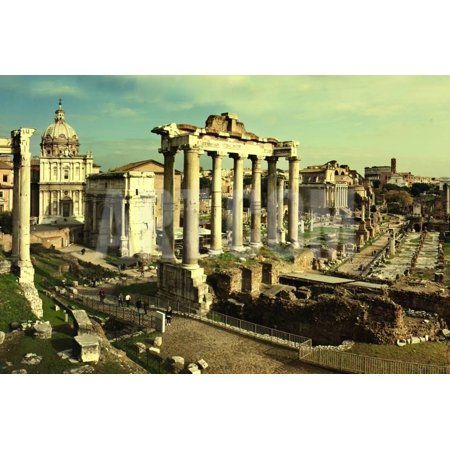 Vintage Postcard with Foro Romano Print Wall Art By (Romano Post)