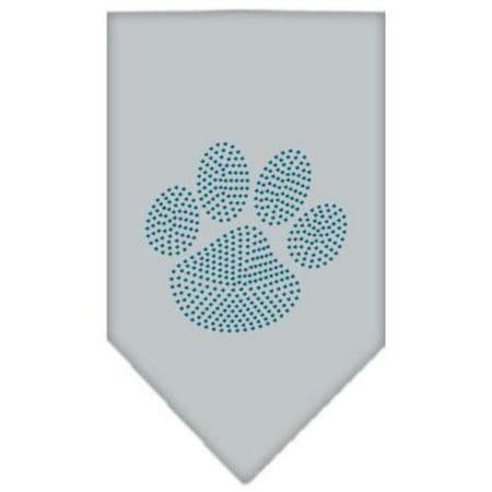 Paw Blue Rhinestone Bandana Grey Large (Large Blue Rhinestone)