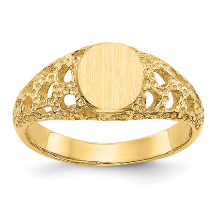 Solid 14k Yellow Gold Engravable Signet Ring (7mm)