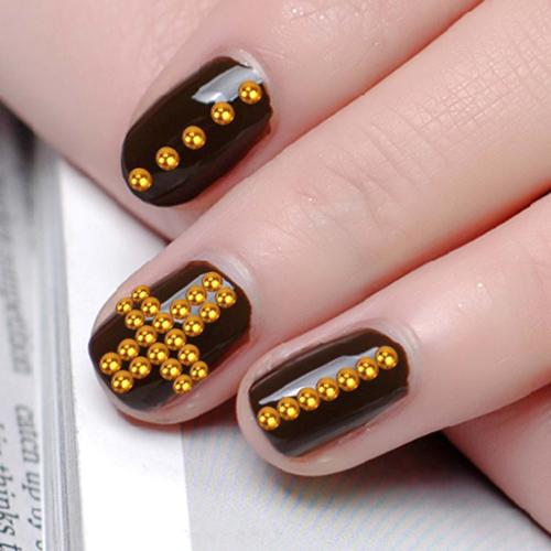 BMC 2mm Shinny Bronze Colored Round Disc Shaped 3D Nail Polish Art Metal Studs