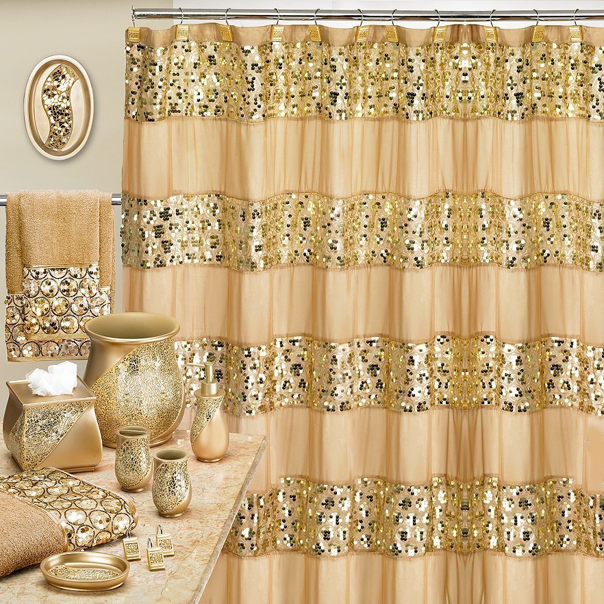 Popular Bath Sinatra Champagne, Shower Curtain, Shower Hooks, Basket, Tissue, Cup, Soap Dish, Toothbrush, Lotion, 8 Piece Set
