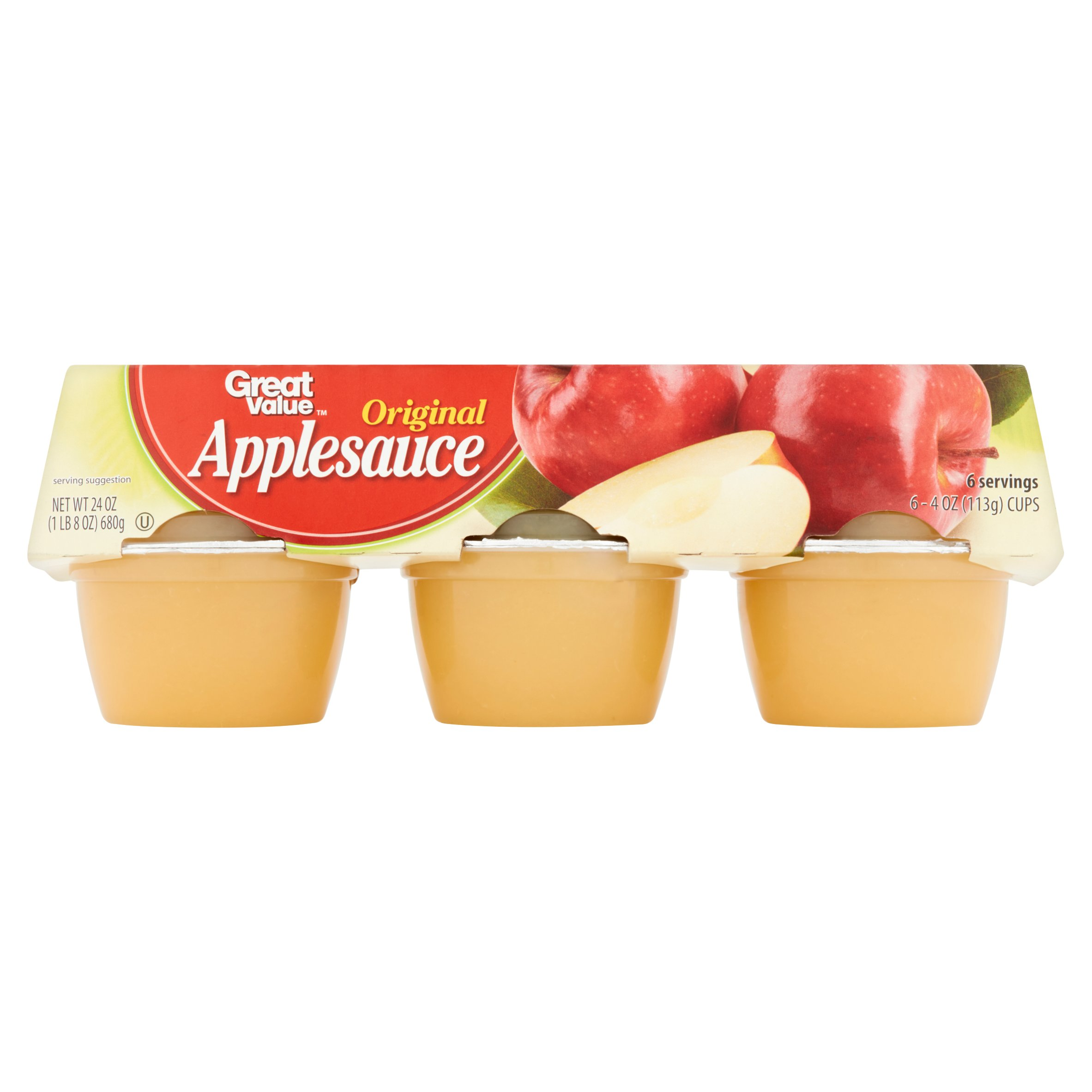 (3 Pack) Great Value Applesauce Cups, Original, 6 Count
