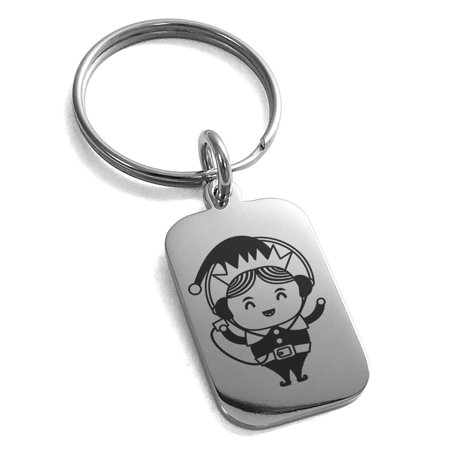 Stainless Steel Music Elf Engraved Small Rectangle Dog Tag Charm Keychain Keyring - Elf Jewelry