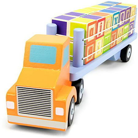 Imagination Generation Alpha Block Cargo Truck & 28 Wood ABC Alphabet Blocks
