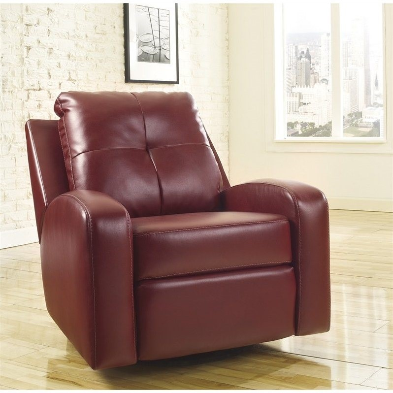 Ashley Furniture Mannix Leather Swivel Glider Recliner in Red & Ashley Furniture Mannix Leather Swivel Glider Recliner in Red ... islam-shia.org