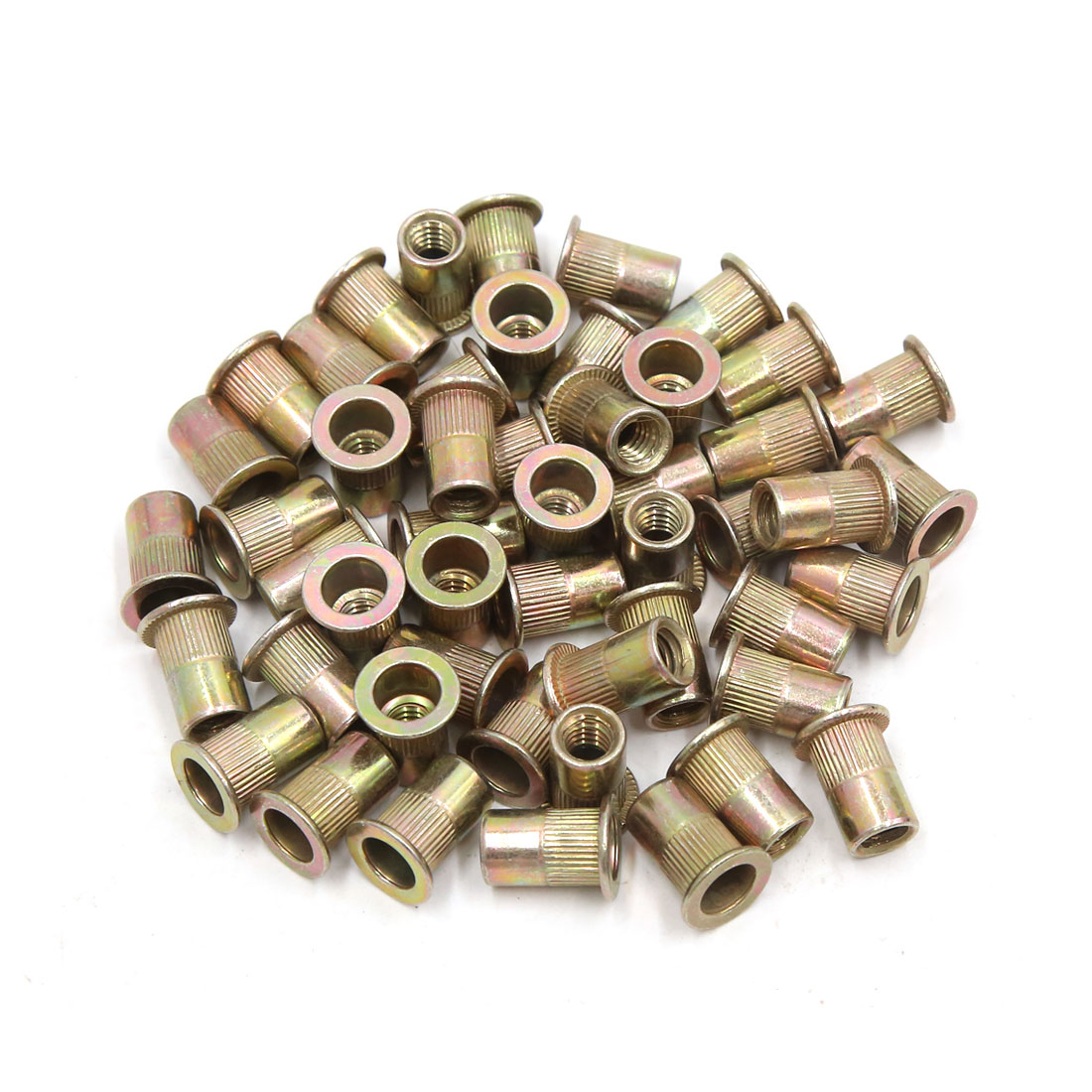 50Pcs Copper Tone Metal 1/4-20 UNC Rivet Nut Flat Head Insert Nutsert for Car