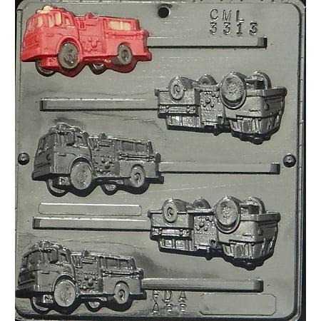 3313 Fire Truck Lollipop Chocolate Candy Mold