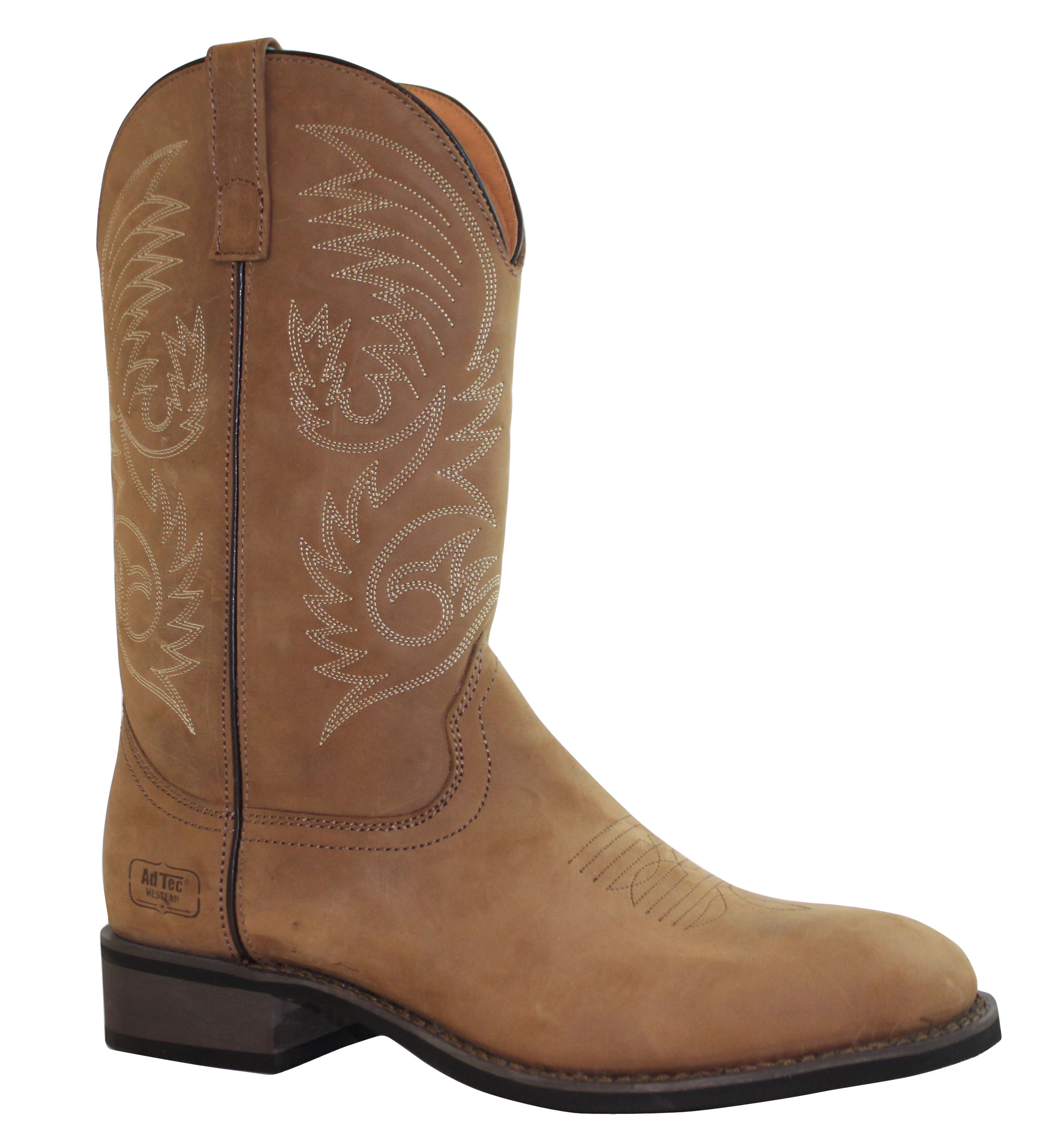 "Adtec Men's 11"" Round Toe Leather Western Boot, Brown - 8.5 M"