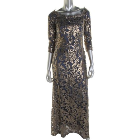 Tadashi Shoji Womens Lace 34 Sleeves Formal Dress Walmart
