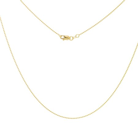 14k Yellow Gold 1mm Bead Chain Necklace With Lobster Claw Closure Lock - Length: 16 to 20 - Gold Bead Necklaces