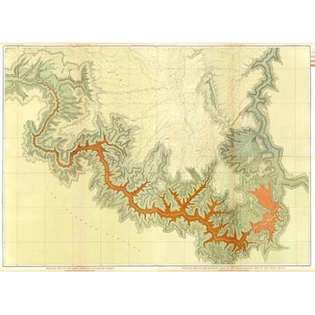 Grand Canyon - ComVintageite Geologic map S pt Kaibab Plateau I-IV 1882 Poster Print by Clarence Dutton (Geologic Map)