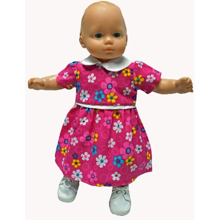 Rose School Dress With Flowers Fits 15-16 Inch Baby Dolls