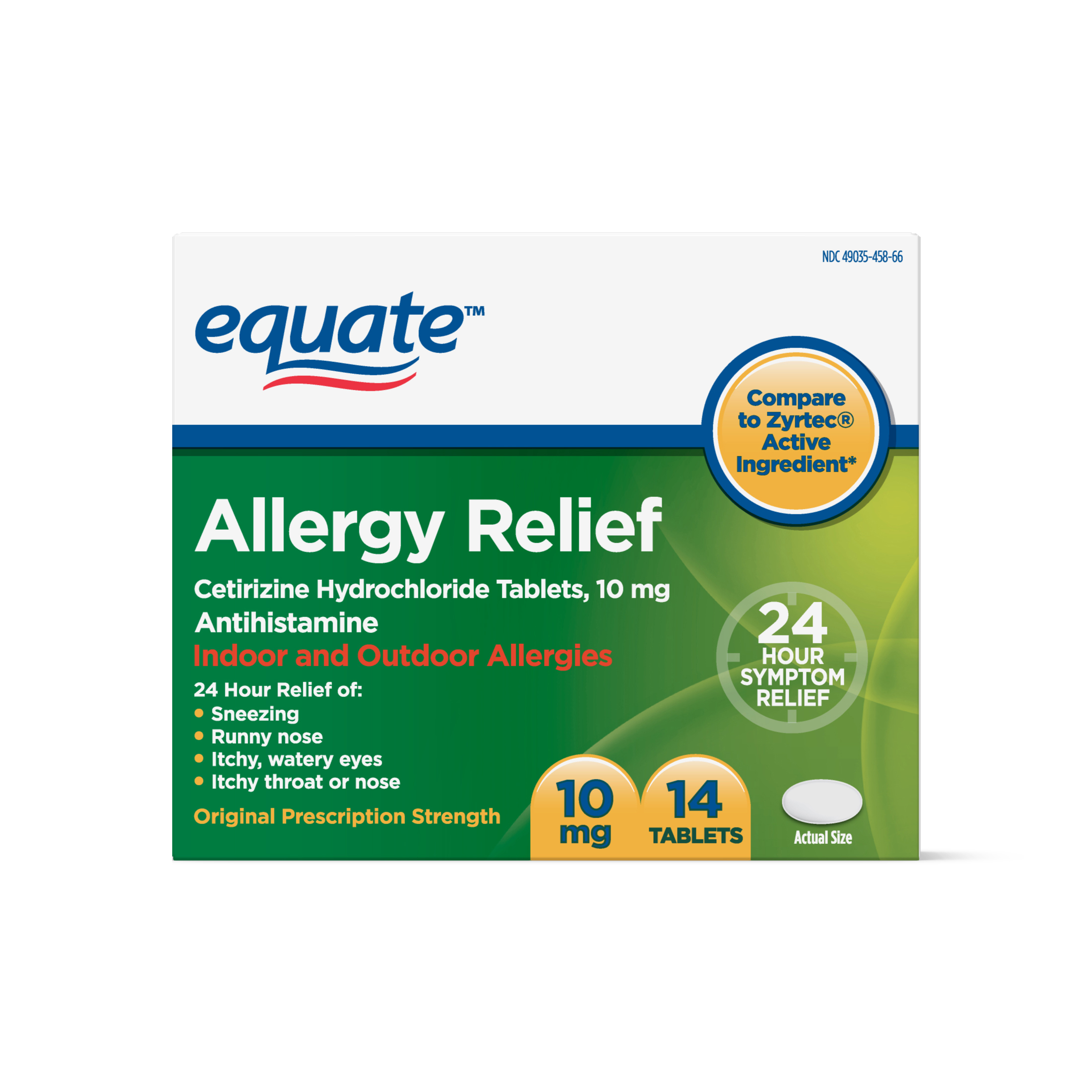 Equate Allergy Relief Certirizine Tablets, 10 mg, 14 Ct