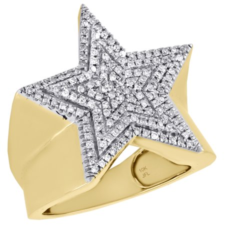 10K Yellow Gold Genuine Diamond Super Star Statement Pinky Ring 22mm Band 1/2 - Superstar Ring