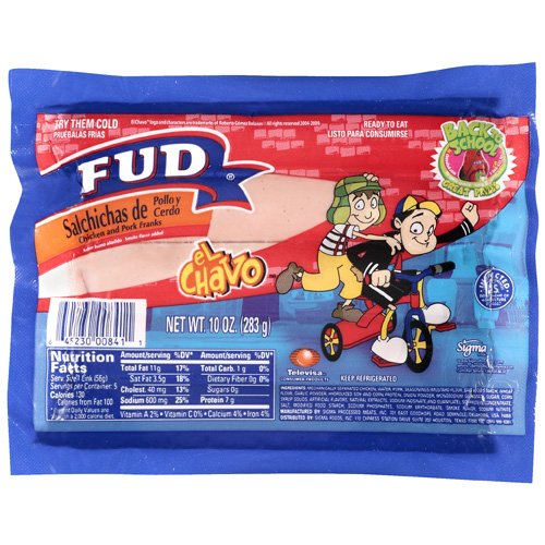 Fud Chicken And Pork Franks, 10 oz