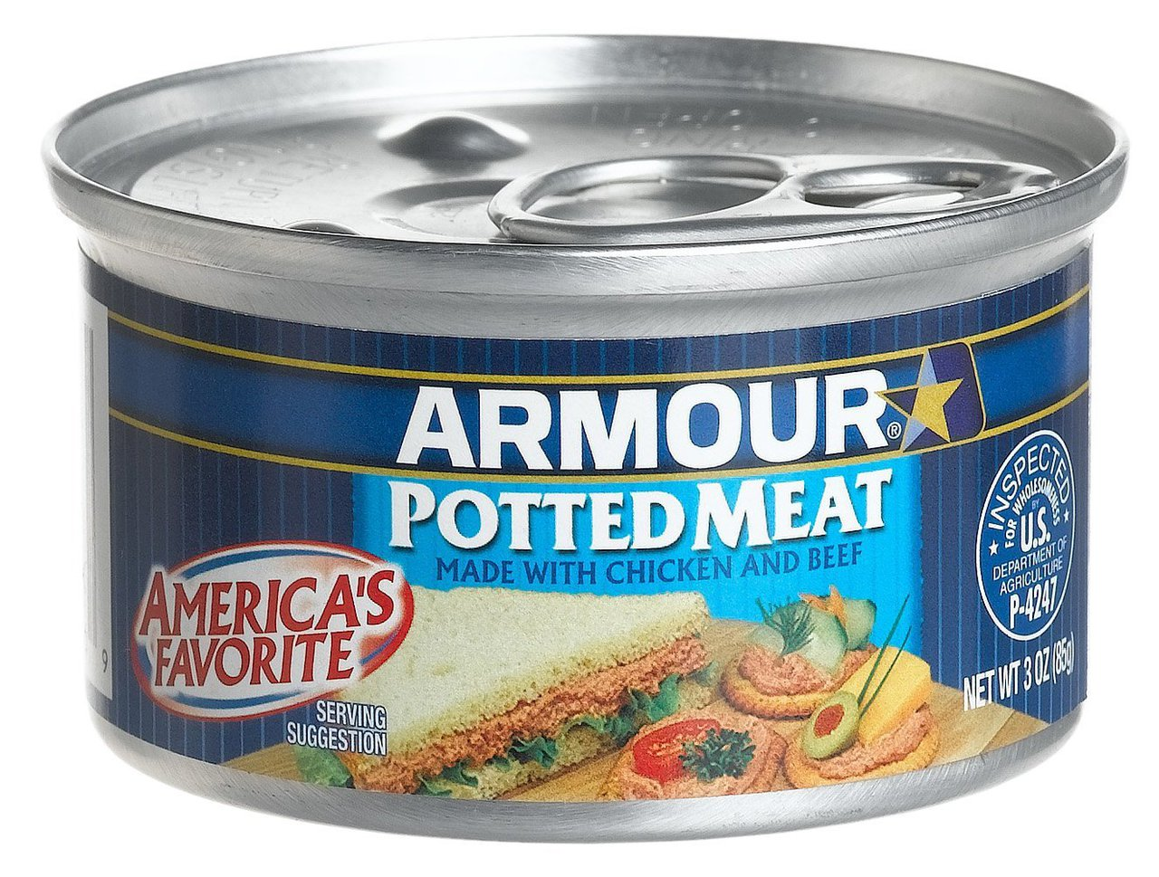 48 PACKS : Armour Star Potted Meat, Chicken and Pork, 3 Ounce by