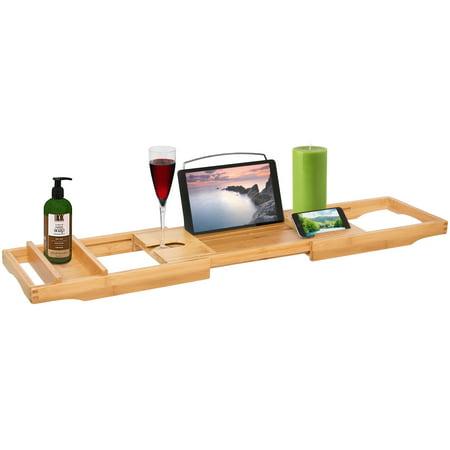 Best Choice Products Bamboo Bathtub Caddy Shower Bathtub Tray ...