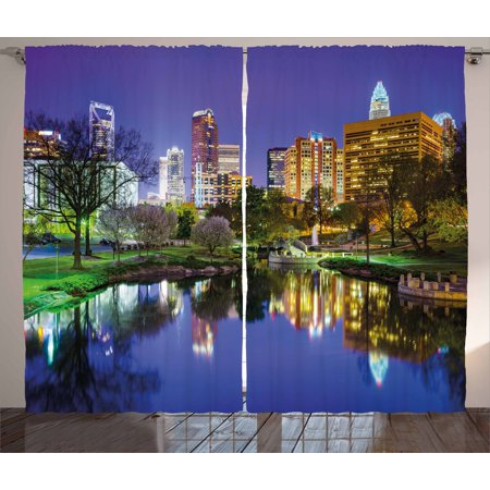 City Curtains 2 Panels Set, North Carolina Marshall Park United States American Night Reflections on Lake Photo, Window Drapes for Living Room Bedroom, 108W X 96L Inches, Multicolor, by (Marshall Panel Craft)