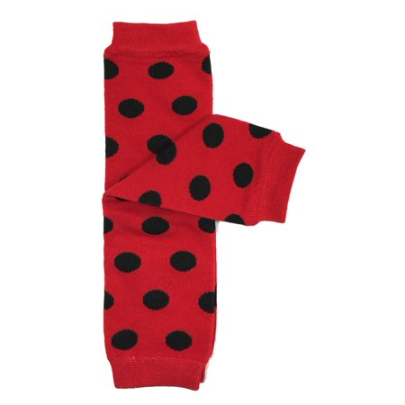 Wrapables® Baby Polka Dot and Solid Color Leg Warmers O/S Red and Black Dots