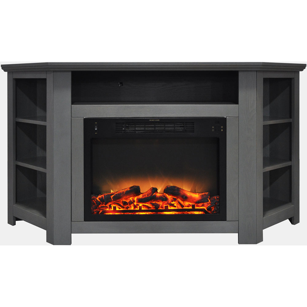 "Cambridge Stratford 56"" Electric Corner Fireplace Heater with Enhanced Log and Grate Display"