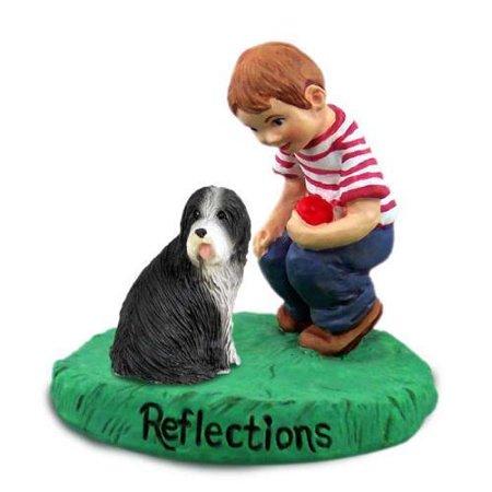 Bearded Collie Figurine (RBD95 Bearded Collie Reflections w/Boy Figurine )