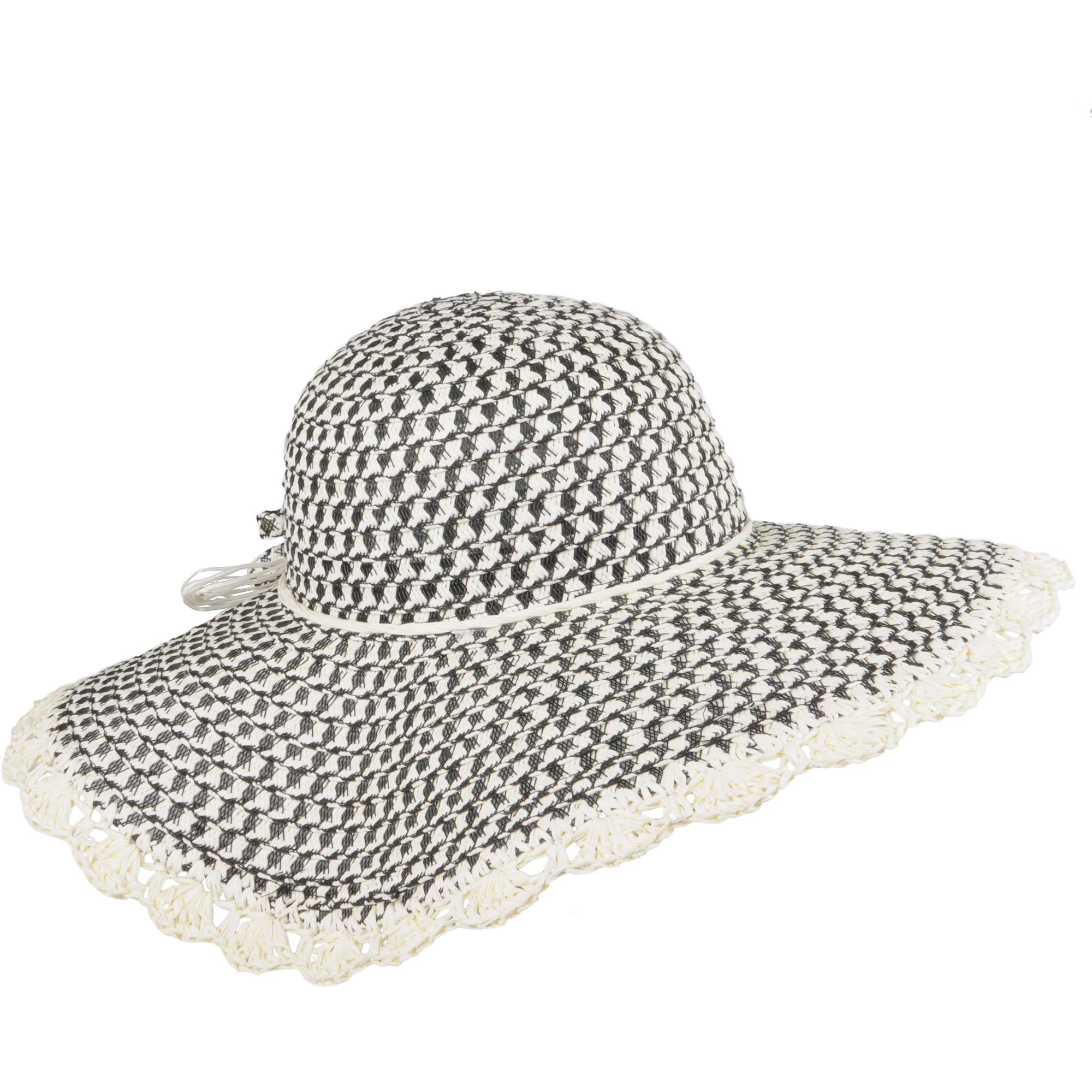 Brinley Co. Womens Bow Accent Brim Paper Hat