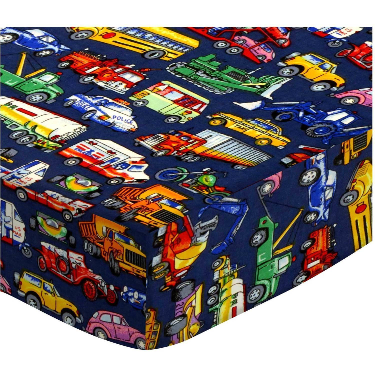 SheetWorld Fitted Crib / Toddler Sheet - Vehicles Galore