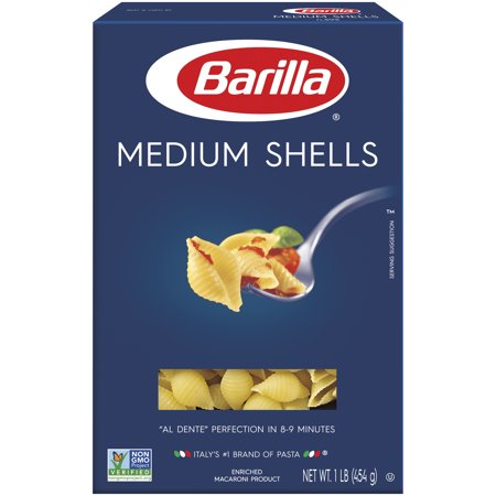Barilla® Classic Blue Box Pasta Medium Shells 16 oz At Barilla, we're passionate about pasta. After all, we have been pasta makers since 1877. As an Italian family-owned food company, Barilla pasta is synonymous with high quality and  al dente  perfection every time. Our Medium Shells are made from the finest durum wheat and is non-GMO verified, peanut-free and suitable for a vegan or vegetarian diet. Medium Shells are Barilla's smallest shell-shaped pasta and were inspired by the seaside towns of Naples and Genoa. With a 'cup-shaped' opening and delicate ridges, Medium Shells perfectly capture the pasta sauce they are served with.