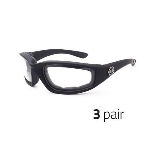 3 Pair Motorcycle Sports Biker Riding Glasses Padded Wind Resistant Sunglasses c