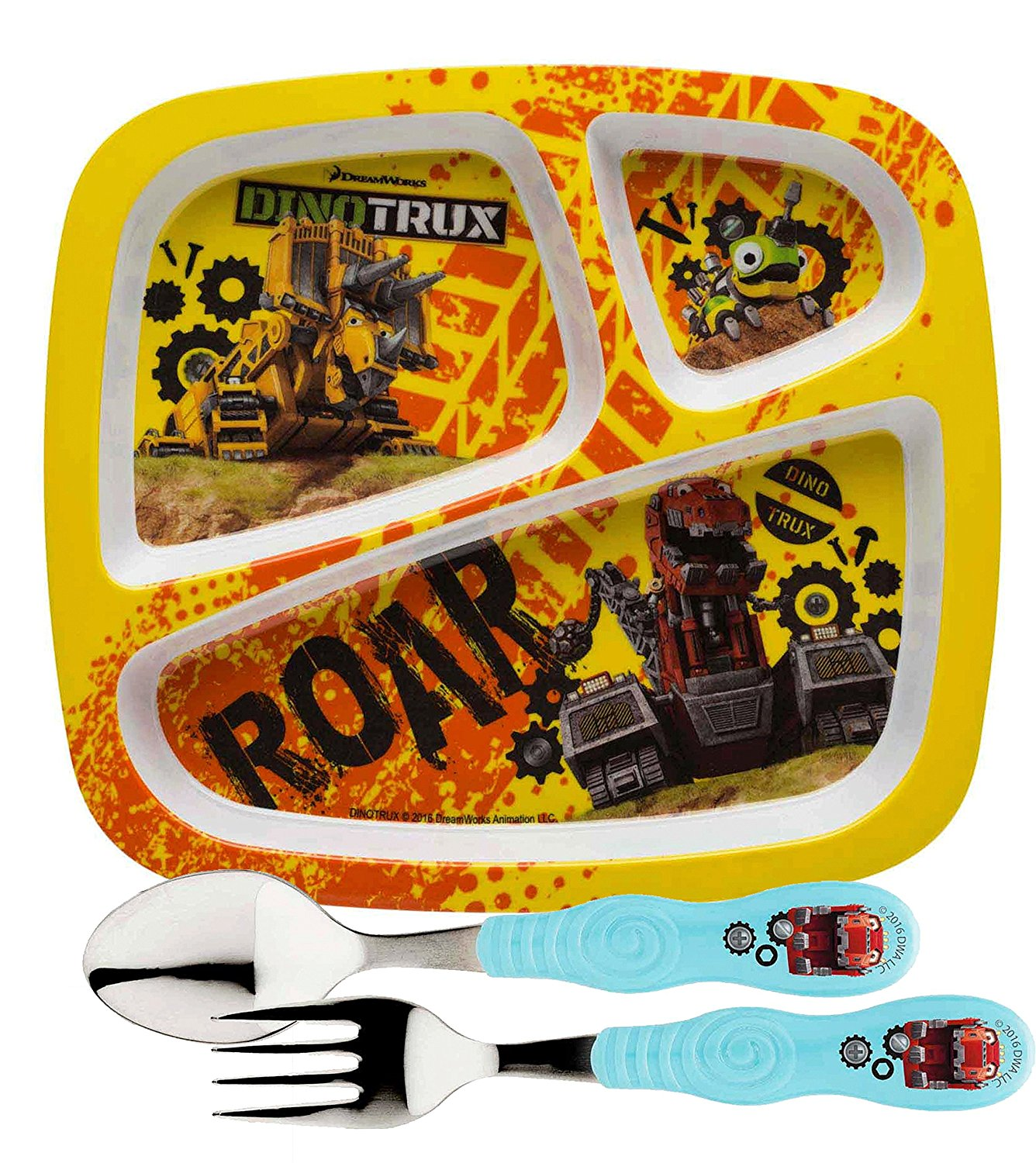 ! Designs Kids Dinnerware Set Includes Sectioned Plate, Fork & Spoon! Featuring Dreamworks Dinotrux Graphics! BPA-free, 3 Piece Set., (1) Dinotrux.., By Zak