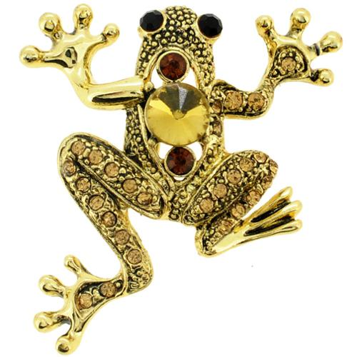 Fantasyard Goldtone Brown Crystal Frog Pin Brooch by Overstock
