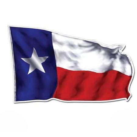 Texas Flag Waving - Vinyl Sticker Waterproof Decal Sticker - Texas Greetings Sticker