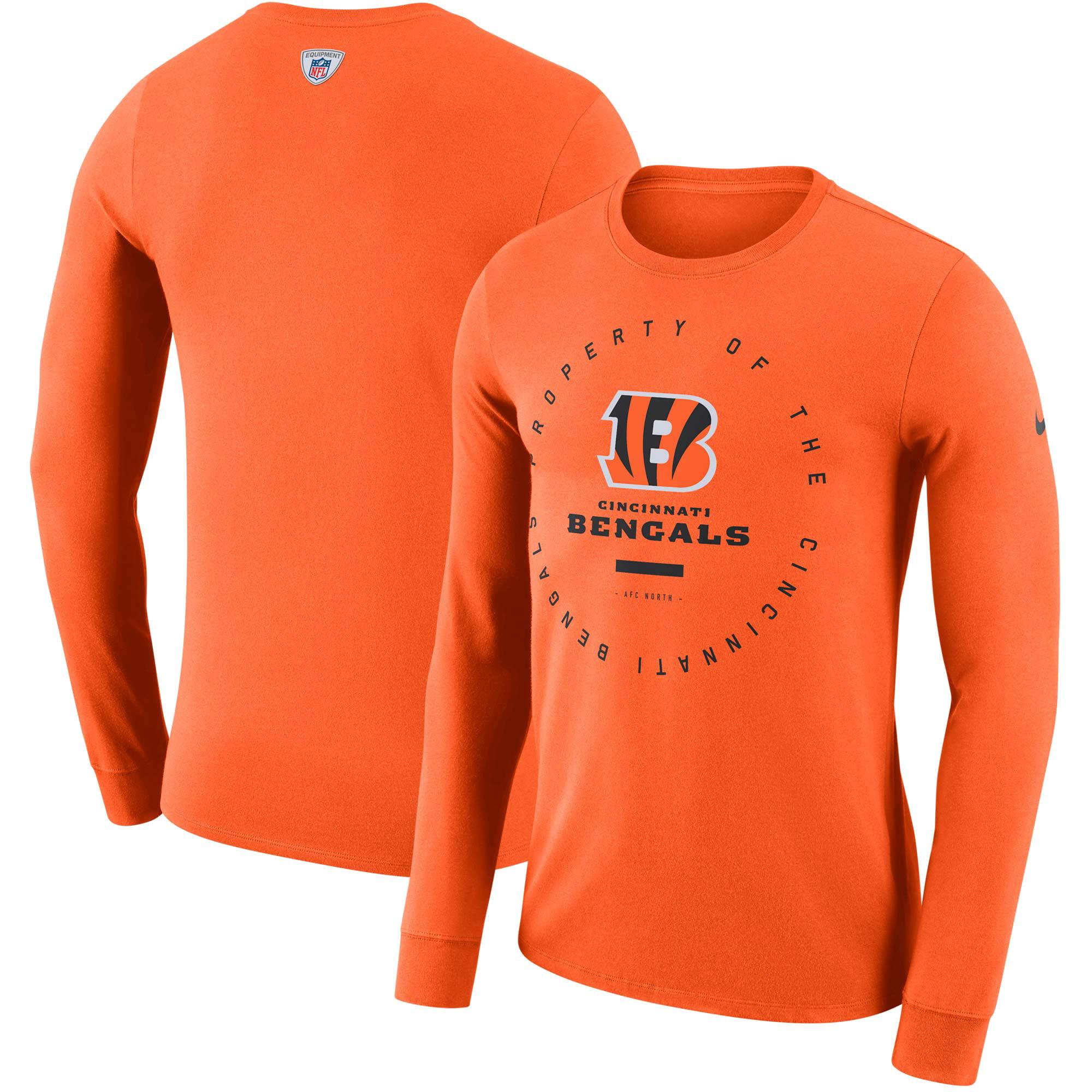 Cincinnati Bengals Nike Sideline Property Of Performance Long Sleeve T-Shirt - Orange