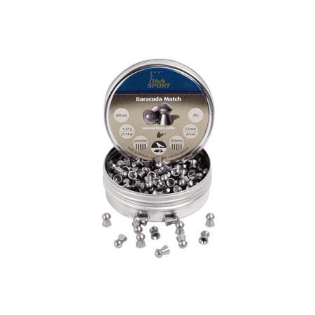 H&N Baracuda Match, Airgun Pellets .22 Cal (5.52mm), 21.14 Grains, Round Nose,