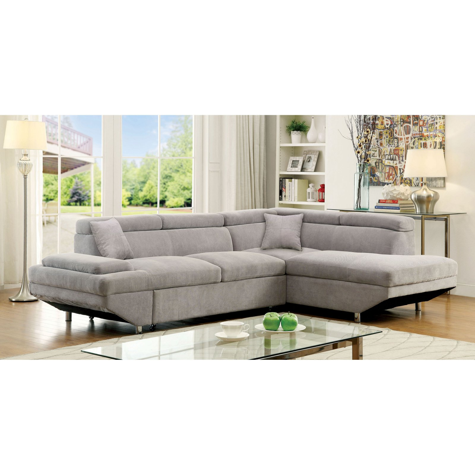 Furniture of America Dorian Sectional Sofa with Chaise
